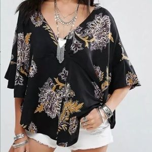 Free People Small Maui Wowie V Neck Tie Side Shirt
